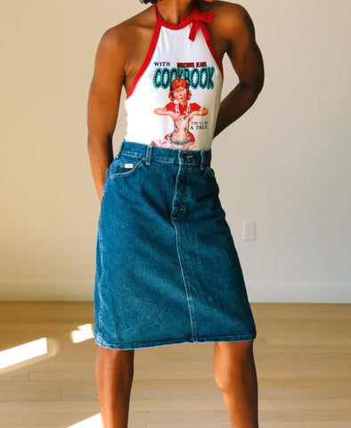 Vintage Lee A-Line Denim Skirt