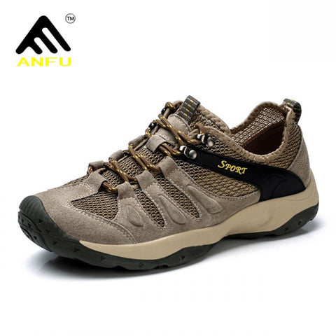ANFU Mens's Breathable Mesh Outdoor Sports Hiking Trekking Camping Shoes