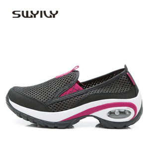 SWYIVY Women's Thick-Sole Breathable Mesh Anti-Slip Hiking Shoes