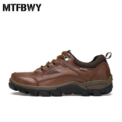 Men's Genuine Leather Beefy Sole Walking Hiking Shoes