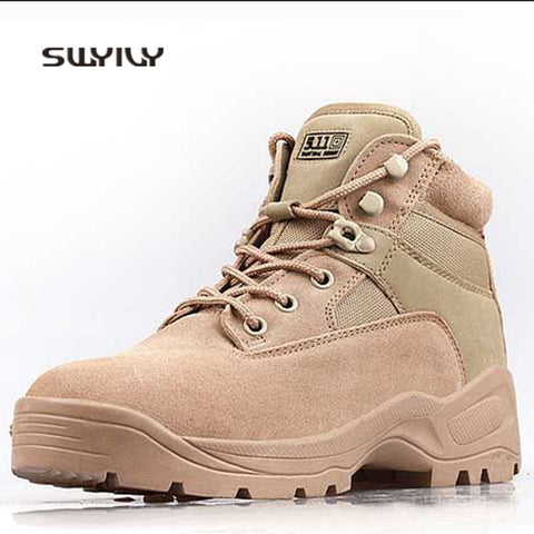 Image of SWYIVY Men's Ankle-Top High Quality Waterproof Wear-Resistant Hiking Trekking Climbing Shoes