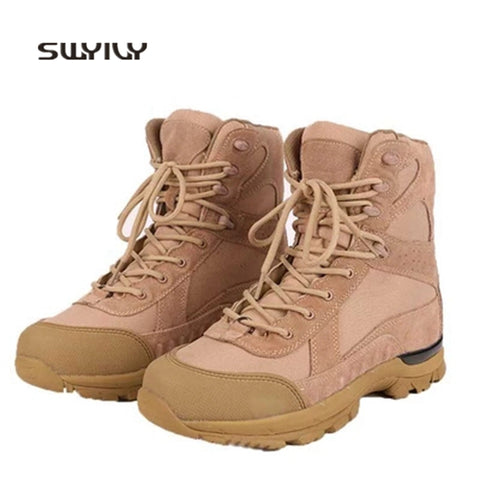 Image of SWYIVY Men's Genuine Leather Anti-Slip High-Top Hard-Wearing Tactical Hiking Boots