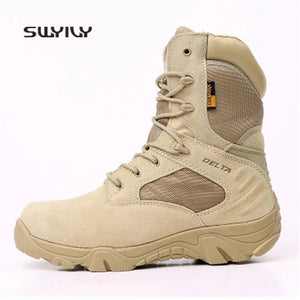 SWYIVY  New 2018 Men's Genuine Leather High-Top Waterproof Non-Slip Hiking Climbing Tactical Boot Plus Size
