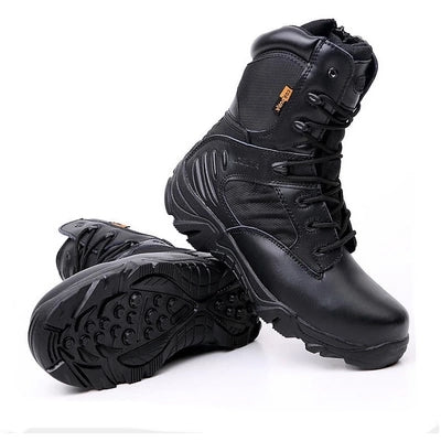Image of SWYIVY  New 2018 Men's Genuine Leather High-Top Waterproof Non-Slip Hiking Climbing Tactical Boot Plus Size