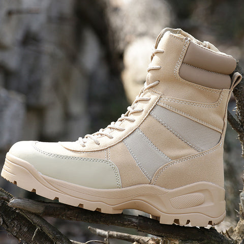 Image of Men's Military Tactical Boot Genuine Leather Waterproof Camping Trekking Climbing Hunting Hiking