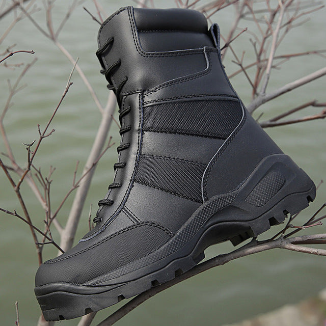 Men's Military Tactical Boot Genuine Leather Waterproof Camping Trekking Climbing Hunting Hiking