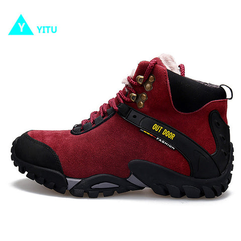 Image of YITU Women's Fur-Lined Winter Anti-Skid Outdoor Sports Hiking Trekking Camping Boots