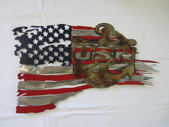 US NAVY Logo and Battle Torn American Flag