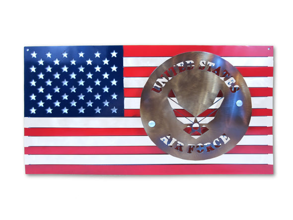 U.S. AIR FORCE Logo and American Flag Steel Sign
