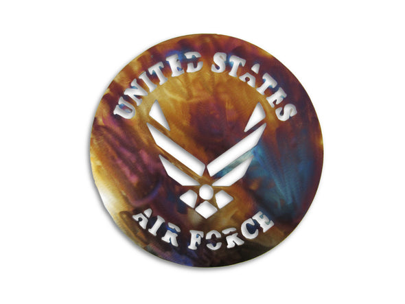 US Air Force Logo and Battle Torn American Flag