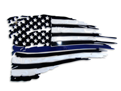BLUE LINE Battle Torn American Flag