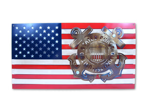 United States Coast Guard Logo and American Flag