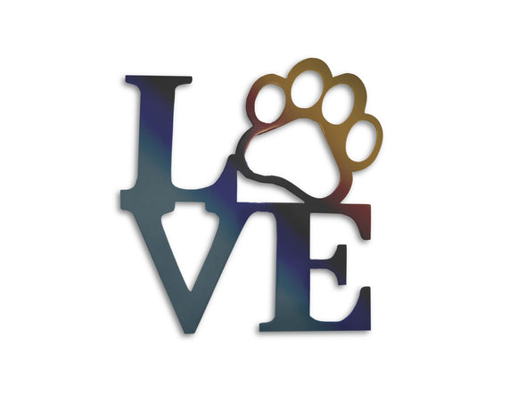 Metal Love Paw Metal Decor