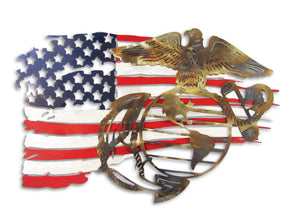 US MARINES Logo and Battle Torn American Flag