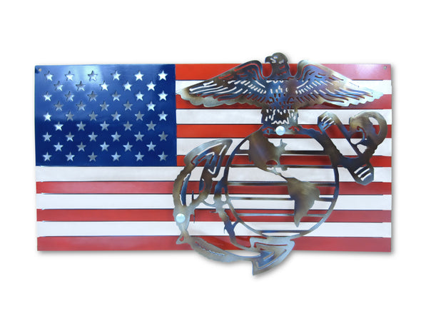 United States Marines Logo and American Flag
