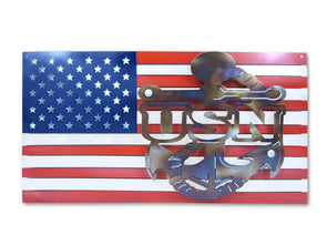 United States NAVY Logo and American Flag