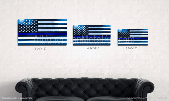 BLUE LINE Steel American Flag