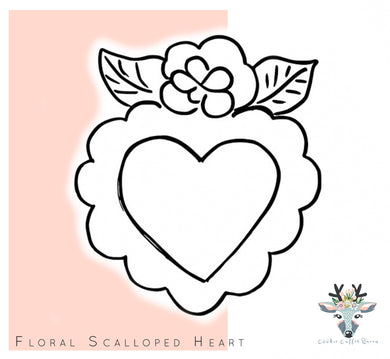 Scalloped Floral Heart Cookie Cutter - CQ421