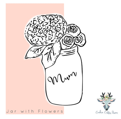 Mason Jar with Flowers - CQ211
