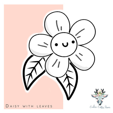 Daisy With Leaves  Cookie Cutter - CQ516