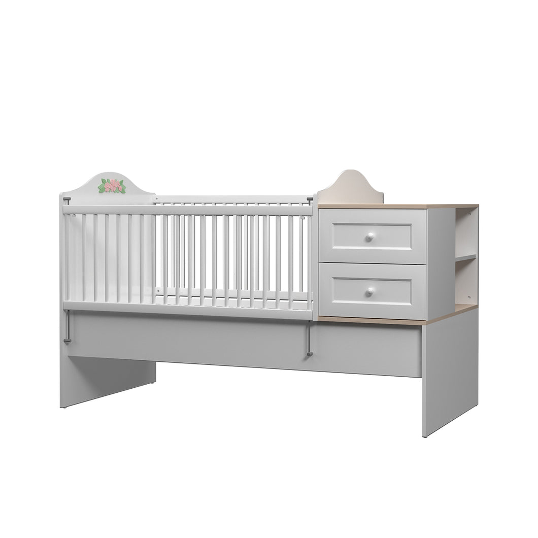 Bianca Convertible Baby Bed with 2 Drawers in Satin White
