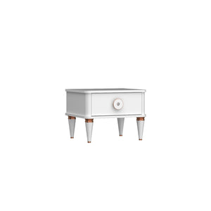 Bella Single Drawer Nightstand in Ultra White Finish