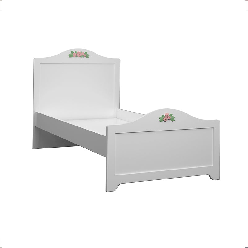 Bianca Platform Bed with Pink Upholstery and Flower Inlays in Satin White