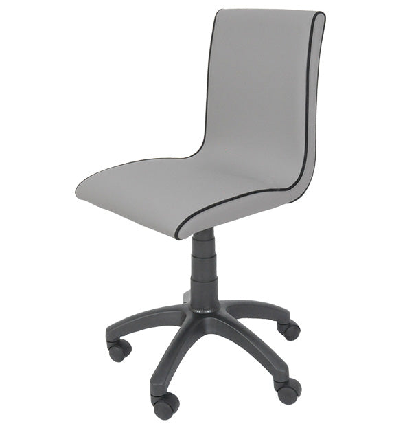 Irony Study Desk Chair In Grey Fabric with Black Piping