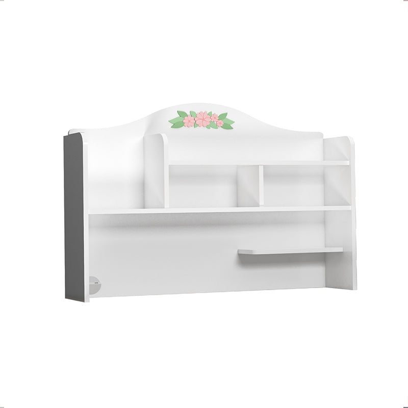Bianca Study Desk Top Unit in Satin White with Flower Inlays
