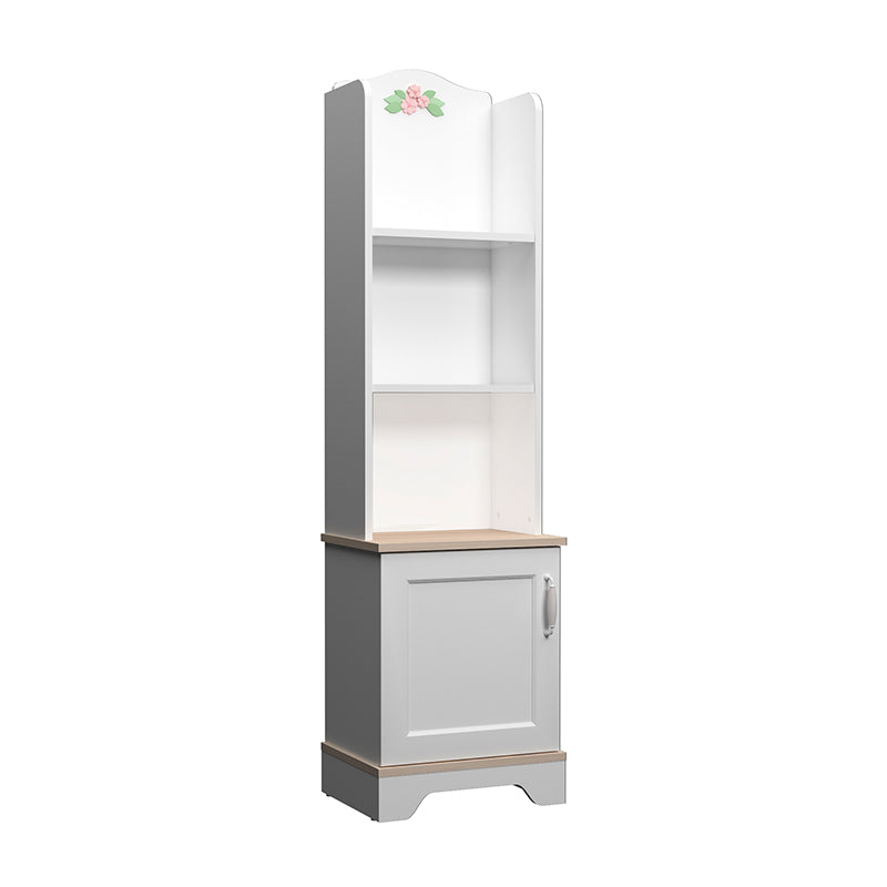 Bianca Tall Bookshelf in Satin White with Flower Inlays
