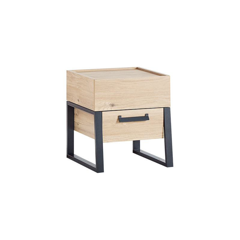Irony 2 Drawer Nightstand in Weathered Oak / Matte Black