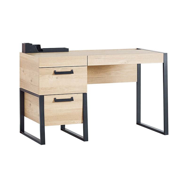 Irony Study Desk with Drawers in Weathered Oak / Matte Black