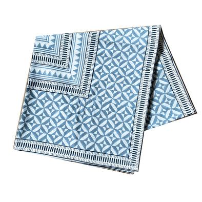 Blue Diamond Block Print Tablecloth