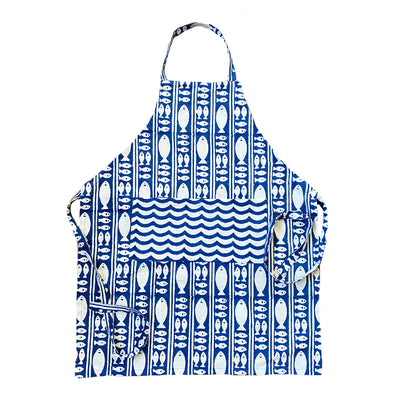 Block Print Apron | Blue Fish