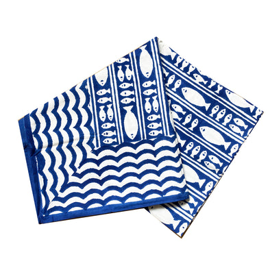 Blue Fish | Block Print Tablecloth