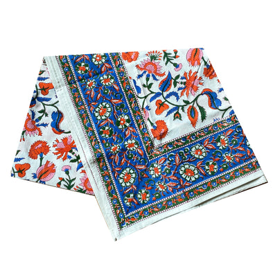 Chamoli Floral Block Print Tablecloth