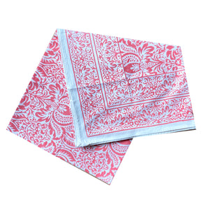 Cypress Coral Block Print Tablecloth