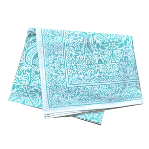 Cypress Mint Block Print Tablecloth