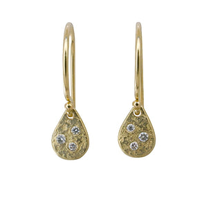 Weathered Diamond Droplet Earrings | 14k Gold