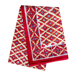 Red Floral Diamonds Block Print Tablecloth