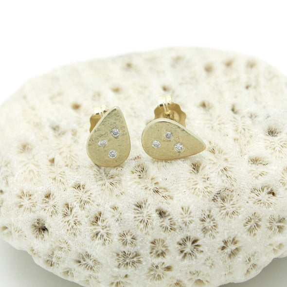Weathered Diamond Droplet Studs | 14k Gold