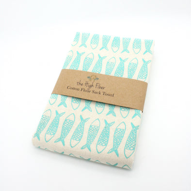 Cotton Flower Sack Kitchen Towel | Turquoise Fish