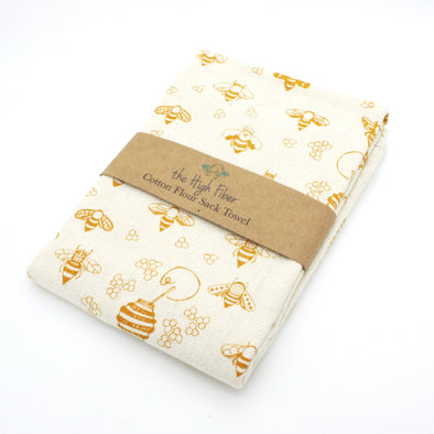 Cotton Flower Sack Kitchen Towel | Gold Bees