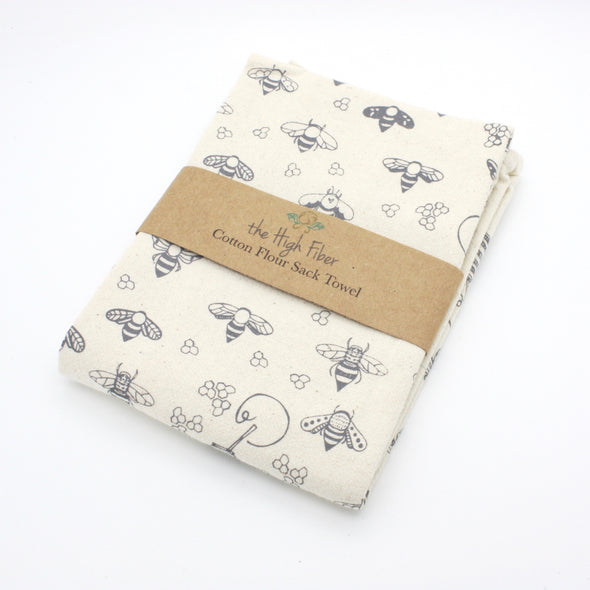 Cotton Flower Sack Kitchen Towel | Gray Bees