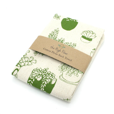 Cotton Flower Sack Kitchen Towel |  Succulents