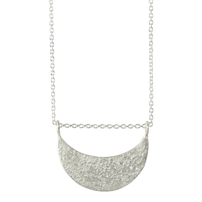 Weathered Crescent Diamond Necklace