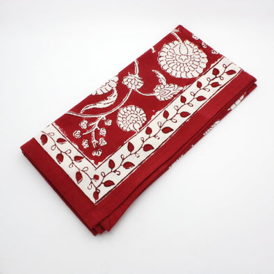 Block Print Napkin | Red Floral