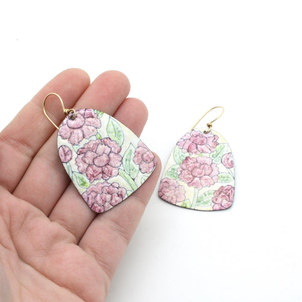 Pink Peony Enamel Earrings