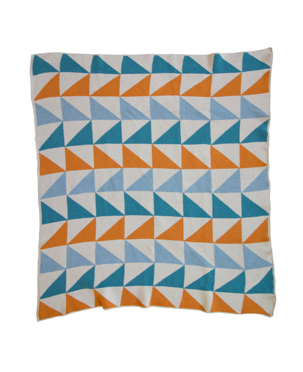 Mini Throw Blanket | Left Triangles | Cornflower/Flame/Turquoise