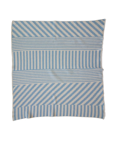 Mini Throw Blanket | Mixed Up Stripes | Cornflower